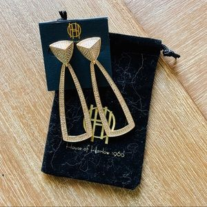 Jewelry - NWT house of Harlow gold sparkle drop earrings